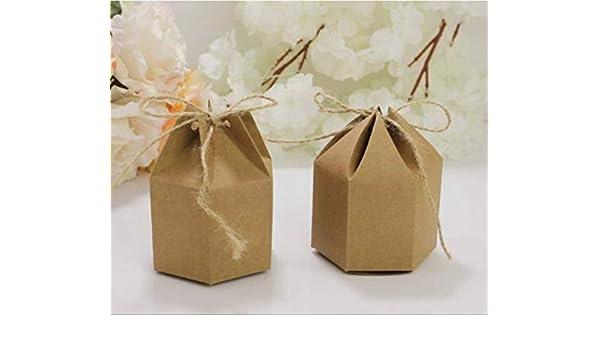 50pcs- Linternas de papel Kraft creativas Caja de regalo artesanal hexagonal Caja de bombones de chocolate Boda con regalos Caja de regalo Accesorios de fiesta de cumpleaños: Amazon.es: Oficina y papelería