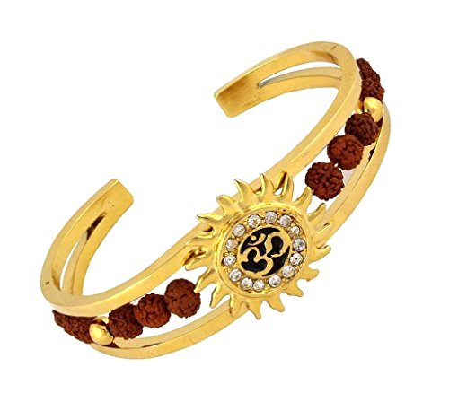 The Jewelbox Men's Rudraksh American Diamond Gold Meena Om Sun Cuff Kada (Gents Gold Bracelet)