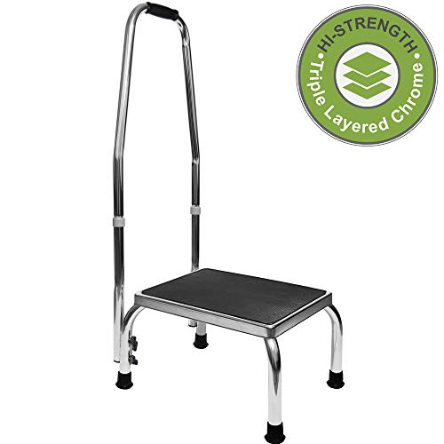 Vaunn Medical Foot Step Stool with Handle and Anti Skid Rubber Platform, Lightweight and Sturdy Chrome Stool for Children, Adults and Seniors