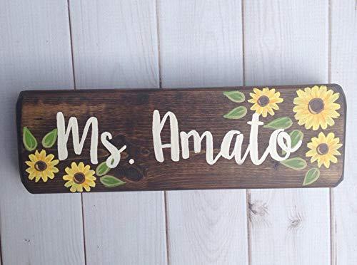 MarthaFox Teacher Name Sign Sunflower Desk Sign Teacher Gift Sunflowers Hand Painted Wood Sign Teacher Name Plaque Classroom Decor - Hand Painted Name Plaque