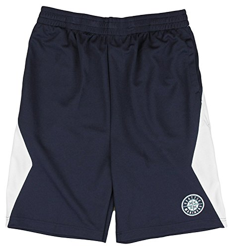 (Outerstuff Seattle Mariners MLB Little Boys and Big Boys Team Round Logo Shorts - Navy Blue (XS (4/5)))