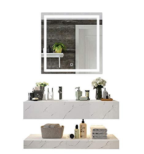 DIYHD W36 X H36 Wall Mount Led Lighted Bathroom Mirror Vanity Defogger Square Lights Touch Light Mirror