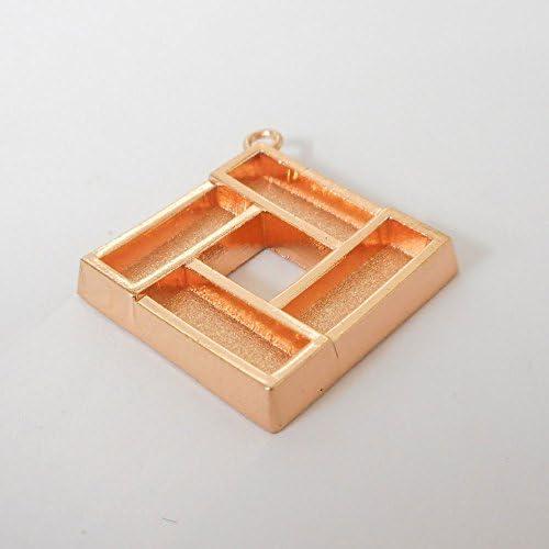SHAREKI キラキラ アクセサリー パーツ バチカン角 ペンダントフレーム スクエア (四角形) ピンクゴールド squ-pen-p