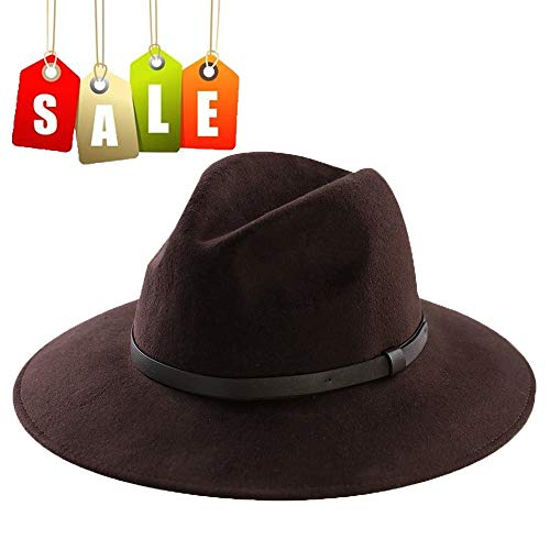 Wool Felt Hat,Wide Brim Fedora Hats Men Women Trilby Outback Cowboy Panama Caps with Vintage Leather Band (M:7 1/8-22 1/4inch,Brown) (Men Fedora Hats For Sale)