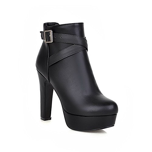 VogueZone009 Girls Solid PU Boots with Platform and Zippers, Black, 36]()