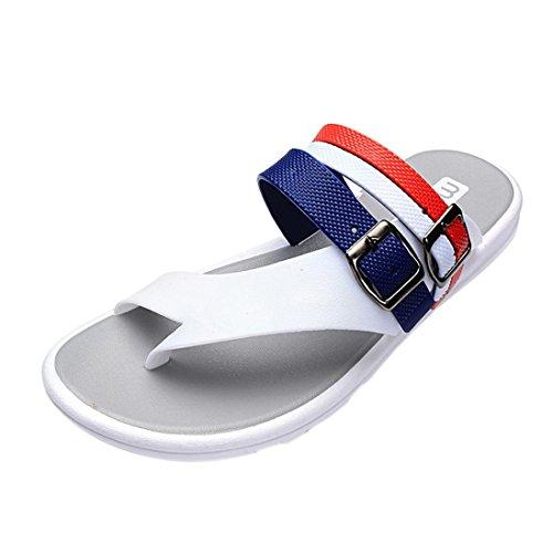 Sandali Estivi Inkach - Sandali Infradito Moda Uomo Sandali Casual Da Spiaggia Scarpe Basse Bianche