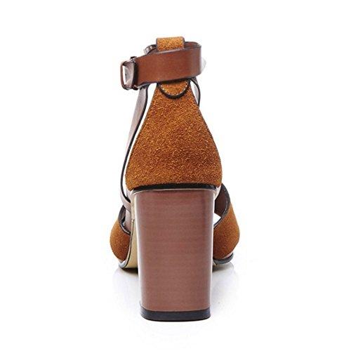 COOLCEPT Mujer Moda Al Tobillo Sandalias Punta Abierta Tacon Ancho Zapatos Marron