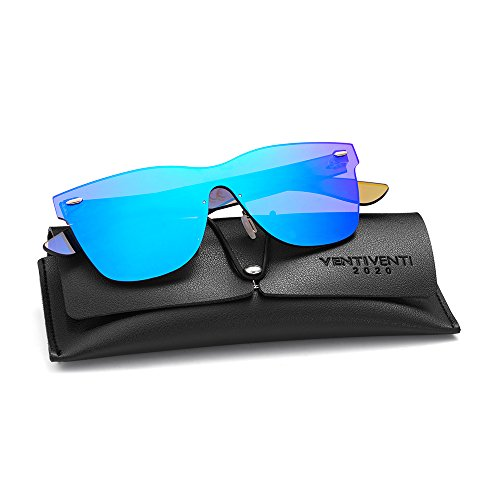 2020VentiVenti Vintage Retro Sunglasses for Cool Men Women Square Mirror Lens Rimless Frame 56mm UV400 Protection with Sun Glasses Case PC1601C03 (Blue,Revo) Blue Eyewear