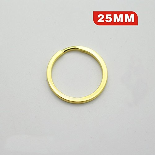 Highfive Flat key ring Gold Steel Round Edged Keychain Keyrings (1PCS, 25mm) (Gold)