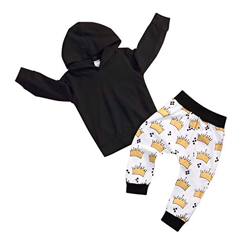 Newborn Baby Boys Hoodie Outfit Long Sleeve Crown Pattern King Print Hooded Tops Sweatshirt Coat Pants 2 Pcs Clothes Set (12-18 Months, -