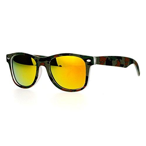 Kid's Sunglasses Camouflage Dark Camo Orange Mirror Lens Kids Fashion - Shades Camo