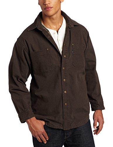 Key Apparel Men's Flannel Lined Duck Shirt/Jacket, Bark, Medium-Regular