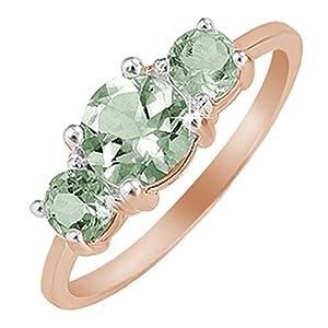 e78019ee8d24 Jewel Zone US Anillo de Amatista Verde de Tres Piedras en Oro DE 14 K Sobre  Plata de Ley (2