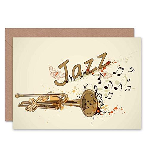 Wee Blue Coo Greeting Jazz Theme Trumpet Typograph Music Gift Sealed Greeting Card Plus Envelope Blank Inside ()