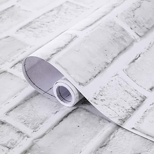 Coavas Decorative Self-Adhesive Wallpaper White Brick Decoration Printed Stick Paper Easy to Apply Peel Stick Wallpaper (17.7x118 inch)