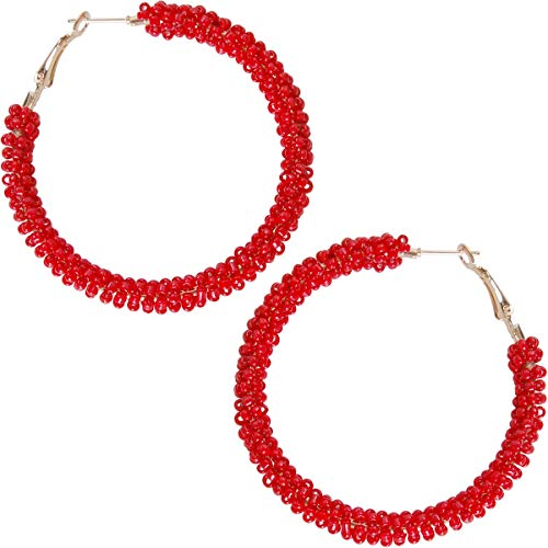 Humble Chic Beaded Hoop Earrings for Women - Statement Loops Big Hoops Bohemian Circle Post Studs Round Drop Dangles, Red Hoops, Gold-Tone