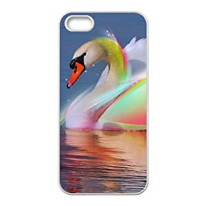 Colorful shiny swimming swan Phone Case for iPhone 5S(TPU)