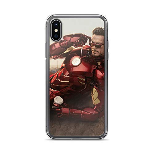 Tony Ironman Stark Avengerss Comic Superhero Stan-Lee Movie Eating Dunkin Donuts with Coffee Anti-Scratch Clear Case Case for iPhone X/XS
