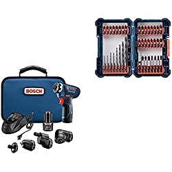 Bosch GSR12V-140FCB22 12V Max Flexiclick 5-In-1 Drill/Driver System with 40-pc Impact Tough Drill Driver Set