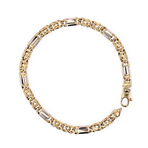 14kt Yellow Gold Mens Bracelet - Link Bracelet, 14Kt Yellow And White Gold Mens Link Bracelet