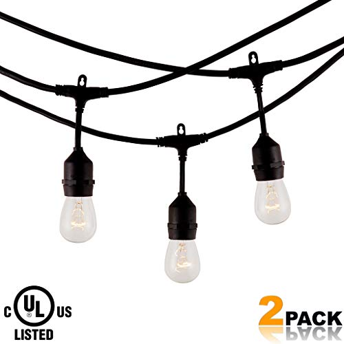 Modvera 2-Pack Backyard Patio Light - Waterproof Outdoor String Light 48FT w/ 15 Sockets & Incandescent 11W S14 Bulb - Indoor Heavy Duty String Bulb for Bistro Porch Pergola Garden Cafe - UL Listed]()