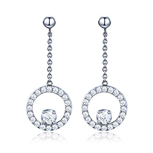 Carleen 14K Solid White Gold Round Circle Dangle Earrings set with Diamonds for Women ()