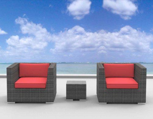 Urban Furnishing - St. Croix Ultra Modern Outdoor Backyard Wicker Patio Furniture Sofa Chair 3pc All-Weather Couch Set - coral red