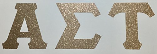 Alpha Sigma Tau Sorority Gold Glitter Letter Sticker Decal Greek 2 Inches Tall for Window Laptop Computer Car AST