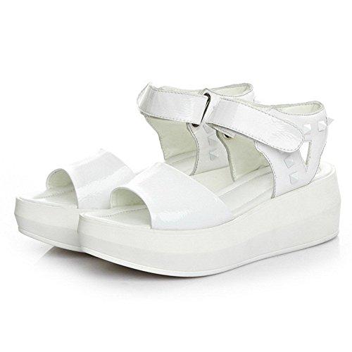 Velcro Sandalia AllhqFashion Plataforma Blanco Mujeres Tachonado Peep qXOtOv