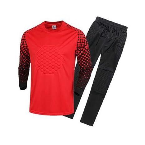 FidgetFidget Mens Soccer Goalkeeper Sponge Protector Suit Camisetas De Futbol RedUS L/Asian XXL