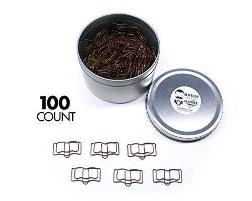 Butler in the Home Holy Bible Book Shaped Paper Clips Great for Paper Clip Collectors or Religious Gift - Comes in Round Tin with Lid and Gift Box (100 Count Brown)