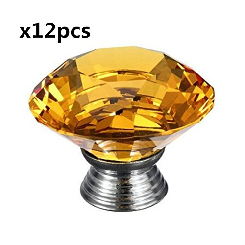 12 PCS 40mm Yellow Crystal Glass Diamond Shape Cabinet Knob Cupboard Drawer Pull Handle for Cupboard, Kitchen and Bathroom Cabinets, Bin,Bookcase ,Shutters, etc