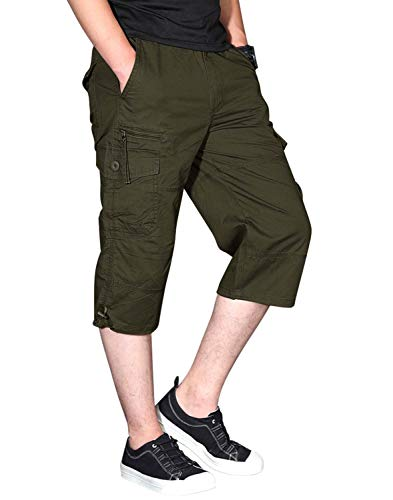 CRYSULLY Men's Cargo Short, Cropped Pants, Long Shorts for Men, Military-Style Solid Cargo Capri Shorts Army -