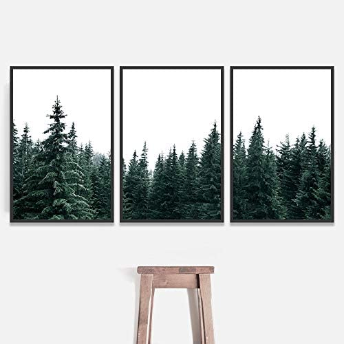 signwin 3 Piece Framed Canvas Wall Art Pine Forest Canvas Prints Home Artwork Decoration