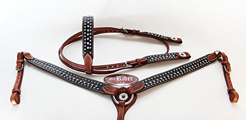 PRORIDER Horse Show Tack Bridle Western Leather Rodeo Headstall Breast Collar Bling 8513