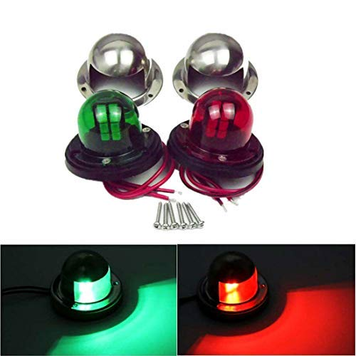 WFLNHB One Pair Red Green Led 12V for Marine Boat Yacht Pontoon Stainless Steel LED Bow Navigation Lights