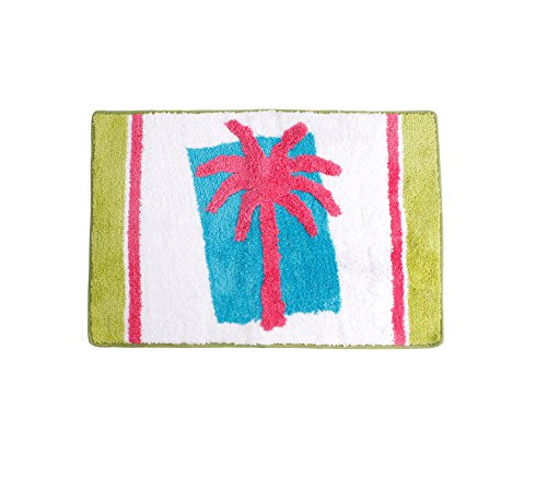 Palm Tree Border Rug - Miami Beach Bathroom Rug, Plush Tufted Polyester, Tropical Palm Tree Themed Bath Mat, 20 x 30 Inches Rectangle