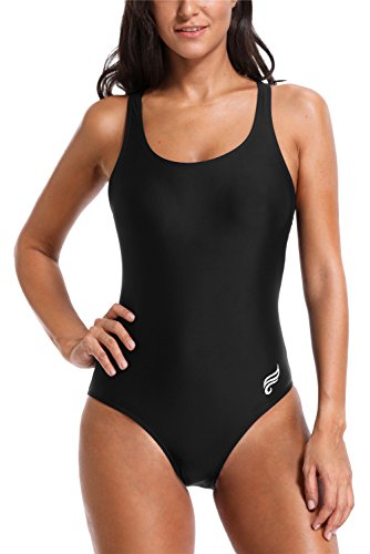1 One Piece Race Suits - ALove Womens Sports One Piece Swimsuit Athletic Swimwear Bathing Suit Black Medium