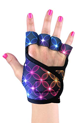 G-Loves Silicone Gel Padded Neoprene Gloves for Wrist Support Gelometrics Studio Gloves | Pilates, Lagree, Yoga, Spinning, Cycling | Help Eliminate Hand and Wrist Pain (S, Cosmic Karma)