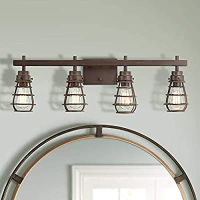 "Bendlin 31"" Wide Oil-Rubbed Bronze 4-Light LED Bath Light - Franklin Iron Works"