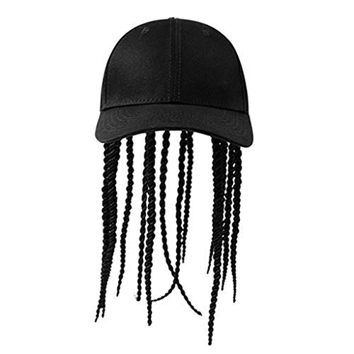 Crytech Baseball Hat with Synthetic Long Dirty Blonde Wig Black Dreadlocks Wig Attached with Ponytail Hole Sun Visor Hat Adjustable Golf Sunhats for Men Hippie Amican Bob Marley Style Costume (Black)