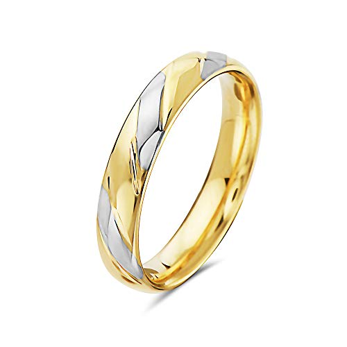 PORI JEWELERS 14K Solid Gold Wedding Band Ring - 2.3mm, 2.5mm, 3mm, 4mm, 5mm - Multiple Colors and Ring (4mm, Two Tone, 6) ()