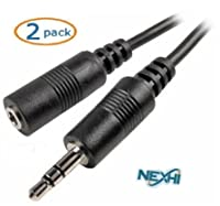 Nexhi AUD-1000-25 3.5mm Male to Female Stereo Cable (25 Feet, Black) - 2 Pack