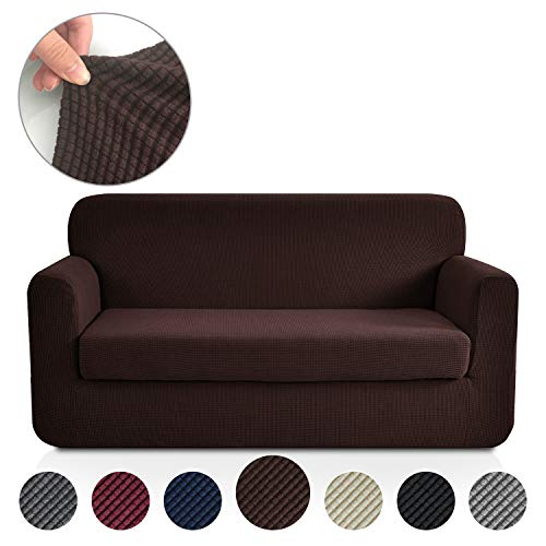 F Jacquard Stretch 2-Piece Sofa Cover, 2-Piece Slipcover for Leather Couch-Polyester Spandex Sofa Slipcover&Couch Cover for Dogs, 2-Piece Sofa Protector(Sofa: Chocolate) ()