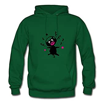 X-large Black Pig With Headphones Painting And Let You Handle It Styling Women Green Sweatshirts