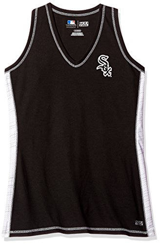 MLB Chicago White Sox Women's Stepping Up Fashion Top, Medium, Black/White/Stone Gray Sox Long Sleeve Polo