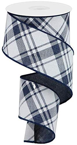 - Diagonal Stripe/Check Wired Edge Ribbon - 10 Yards (Navy Blue, White, 2.5