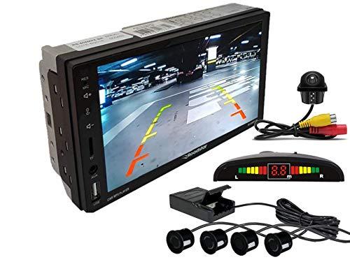Multimidia Mp5 RS-505MP5 Com Câmera De Ré RS-122BR E Sensor De Estacionamento RS-104BR PRETO