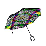 Double Layer Inverted Colorful Beautiful Color Iridescent Sea Of Colour Umbrellas Reverse Folding Umbrella Windproof Uv Protection Big Straight Umbrella For Car Rain Outdoor With C-shaped Handle