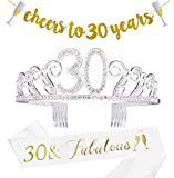 30th Birthday Decorations Party Supplies - 30th Birthday Gifts for Women,30 Birthday sash | Banner | Crown | Cake Topper. (30)